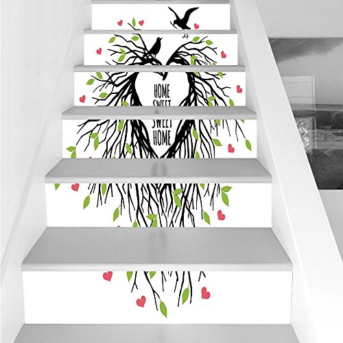 Stair Stickers Wall Stickers,6 PCS Self-adhesive,Tree of Life,Heart Shaped Bird Nest Sweet Home Quote Hope Family Partners in Nature,Black Green Pink,Stair Riser Decal for Living Room, Hall, Kids Room