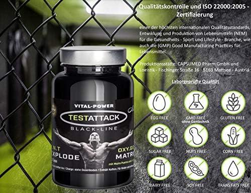 B.P.V - Testattack 60 Kapseln = 32g - Potenzmittel - Testo Booster - Hochdosiertes Kombi-Produkt perfekt geeignet für Sportler und Aktive Männer - Für Lust - Liebe - Leidenschaft und mehr