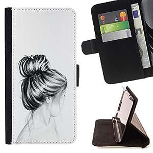 HAIR HEAD PENCIL GIRL BUST DRAWING SAD/ Personalizada del estilo del dise???¡Ào de la PU Caso de encargo del cuero del tir????n del soporte d - Cao - For Samsung Galaxy S5 V SM-G900