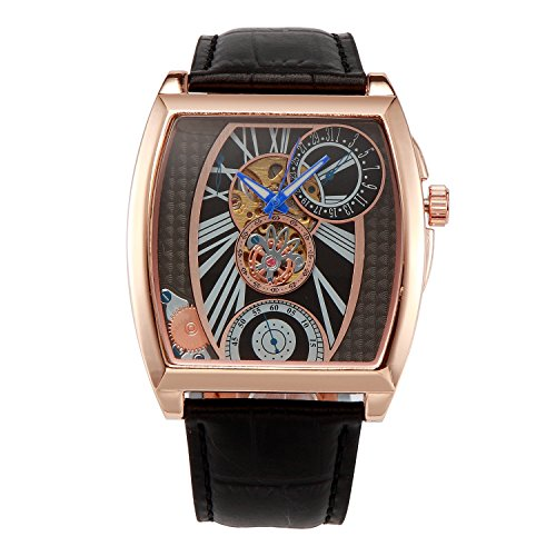 OULM Automatic Mechanical Mens Watches Military Unique Design Skeleton Famous Brand Luxury Leather Analog Wristwatch