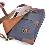 "Gootium 21108GRY Canvas Messenger Bag For 14"" Laptop With Genuine Leather Trim"