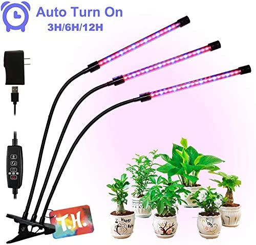 T.H. LED Grow Lights for Indoor Plants, 60 LED, Built-in Timer 3 6 12h, Auto On Off Growing Light Triple Head Plant Growing Lamps