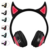 Wireless Devil Horn Headphones Kids Headphones Over Ear with LED Seven Flashing Glowing Lights Wireless Bluetooth Devil Headphones Children Gifts Compatible for iPhone,iPad,Android Phone,Computer