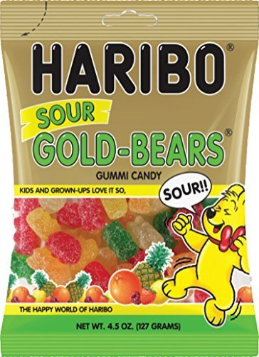 - Haribo Sour Gold-Bears Gummi Candy Bag (4.5 oz/127g) (6 Bags)