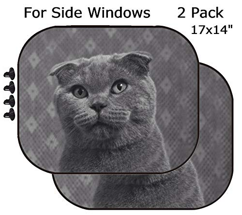 MSD Car Sun Shade - Side Window Sunshade Universal Fit 2 Pack - Block Sun Glare, UV and Heat for Baby and Pet - Image ID 35697131 Cats ()