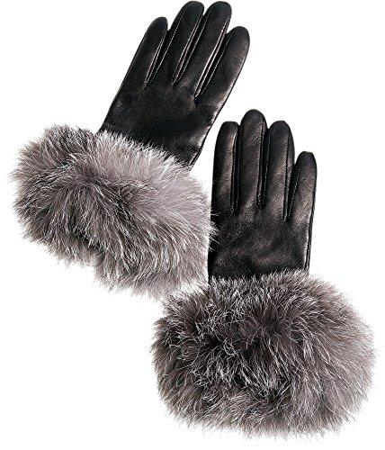 Women's Cashmere-Lined Lambskin Leather Gloves with Fox Fur Trim, BLACK/INDIGO, Size 7 Indigo Womens Plush