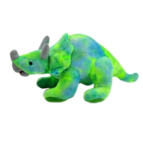 Blancho Bedding Simulation Dinosaur Stuffed Animals and Plush Toys for Kids (Triceratops blue-green