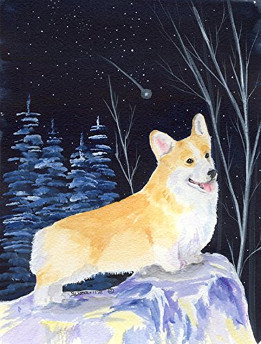 Caroline's Treasures SS8353CHF Starry Night Corgi Flag Canvas, Large, Multicolor For Sale