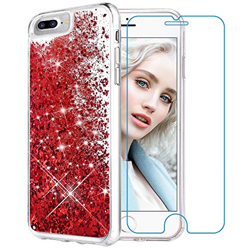 Maxdara iPhone 8 Plus Case, iPhone 7 Plus Glitter Liquid Women Case [Tempered Glass Screen Protector] Floating Bling Sparkle Luxury Pretty Girls Case iPhone 6 Plus/6s Plus/7 Plus/8 Plus (Red)