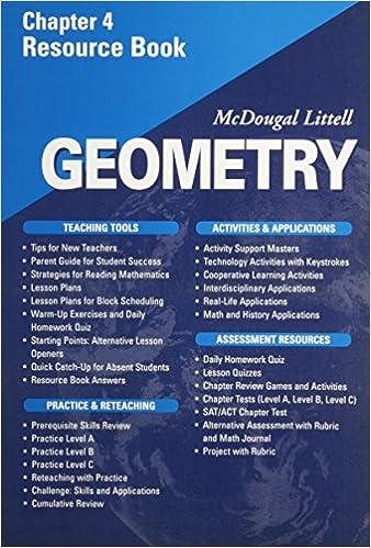 Amazon com: McDougal Littell - Geometry - Chapter 4 Resource