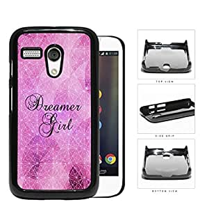 Dreamer Girl Geometric Triangles Pink Nebula Motorola (Moto G) Hard Snap on Plastic Cell Phone Cover
