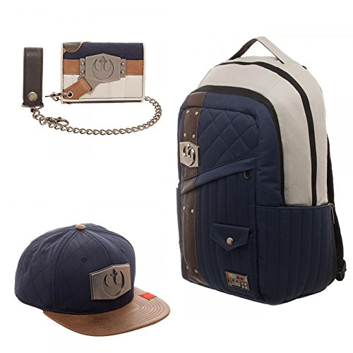 Star Wars Set of 3 Han Solo Inspired Backpack Snapback Chain Wallet - Rebel Alliance Badge (Solo Leather Expandable Laptop)