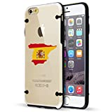 Apple iPhone Hybrid Slim Clear Hard TPU Bumper Case Cover Spain Spanish Flag (Black For iPhone 6 / 6s)