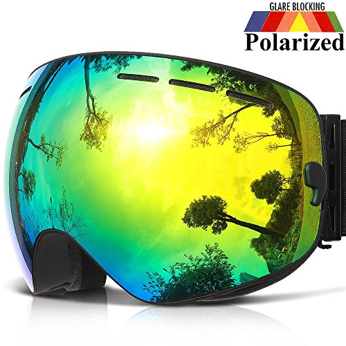COPOZZ Ski Goggles, G1 OTG Snowboard Snow Goggles for Men Women Youth Anti-Fog UV Protection, Polarized Lens Available (G1 Polarized Ski Goggles Black Frame/Gold Lens (VLT 18.4%), G1 Ski Goggles)