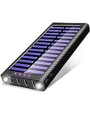 Caricabatterie Portatile 24000mAh Solare Powerbank , 5.8A 4 Porte USB TSSIBE Batteria Esterna con 3 Porte di Entrata(USB C & Micro USB) e 2 Bright LED per Nexus, HTC e altro Smartphone …