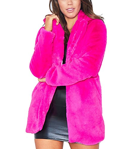 Rose Fur (Vamvie Womens Winter Coat Fluffy Faux Fur Warm Outwear Long Sleeve Jacket Pockets Cardigan Rose Red L)