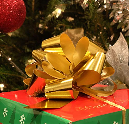 20 PCS Pull Bow,Large Metallic Gold Gift Wrap Pull Bows – 4.7″ Wide, Golden Ribbon Big Pull Flower Bows for X-mas Gifts and Presents, (Metallic Gold)