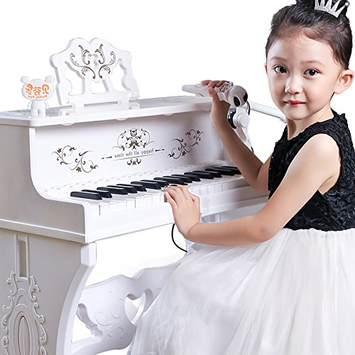QXMEI 37-Key Piano Keyboard Premium Keyboard with Microphone Headphones Children Piano (Pink White),White by QXMEI (Image #2)