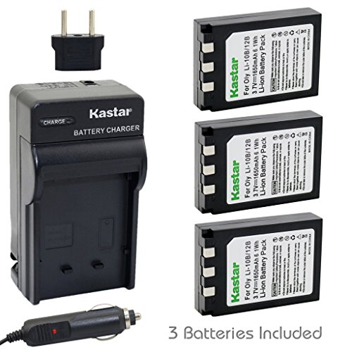 Kastar Battery (3-Pack) and Charger Kit for Olympus LI-10B LI-12B and Olympus Stylus 300,400,500,600,800,C-50,60,70,470,760,770,5000 Camera