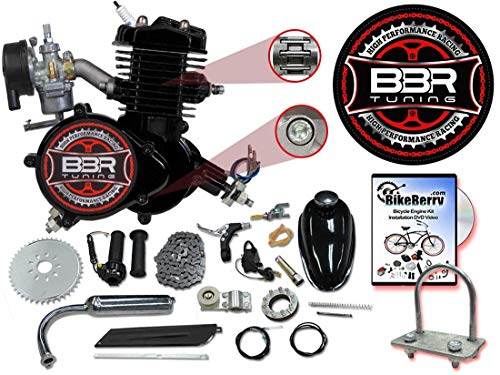 BBR Tuning 66/80cc Black Motorized Bicycle Kit - 2 Stroke Gas Powered Bike Motor Engine