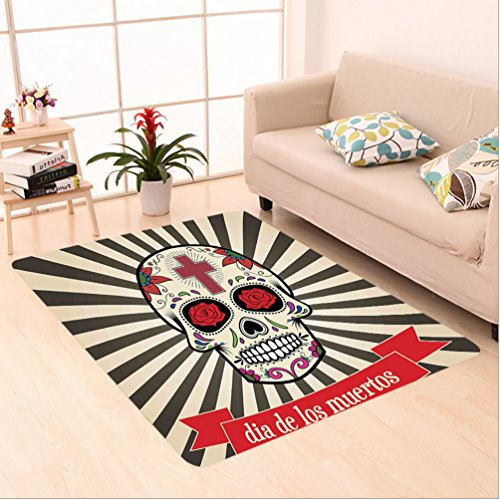 Nalahome Custom carpet Of The Dead Decor Floral Sugar Skull with Christian Cross on Sunburst Pattern Grey Beige and Red area rugs for Living Dining Room Bedroom Hallway Office Carpet (5' X 8') by Nalahome