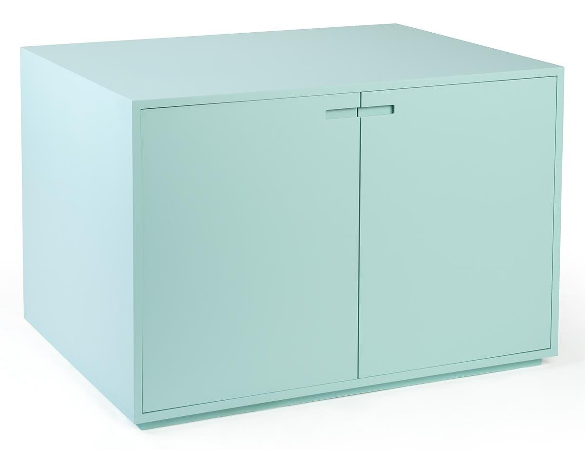 Displays2go Supply Storage Cabinet with Large Interior and Hinged Doors - Light Blue (CBTBLBLU40)