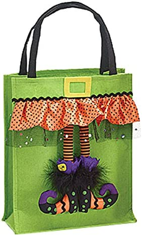 Witch Halloween Tote Bag Green Halloween Trick or Treat Bag