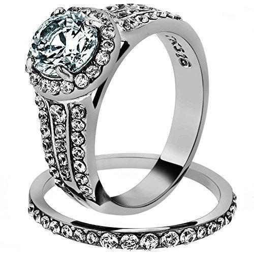 2.45 Ct Halo Round Cut Zirconia Stainless Steel Wedding Ring Set Womens Sz 5-11