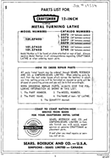 Clausing 5300 & 5400 Lathe Instructions & Parts List: Clausing