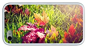 Hipster cheap iPhone 4 covers autumn leaves in morning dew TPU White for Apple iPhone 4/4S