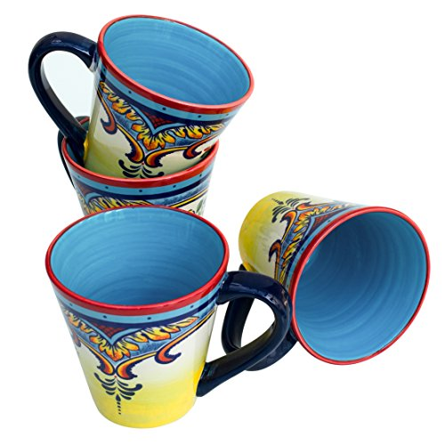 (Euro Ceramica Zanzibar Collection Vibrant Ceramic Coffee/Tea Mugs, Set of 4, Spanish Floral Design, Multicolor )