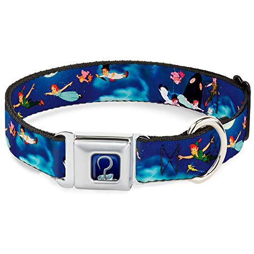 Buckle-Down Dog Collar Seatbelt Buckle Peter Pan Flying Scene Available In Adjustable Sizes For Small Medium Large Dogs