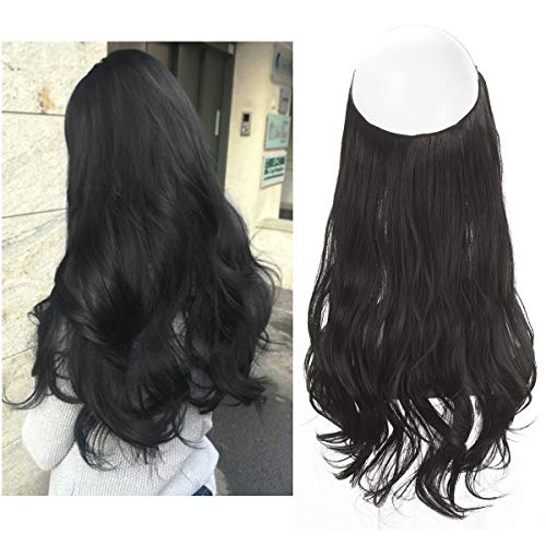 """SARLA 16"""" 4.3oz Synthetic Wavy Halo Hair Extension Natural Hairpieces No Clip No Glue No Tape Size Can Be Adjusted (M03# 2# off black)"""