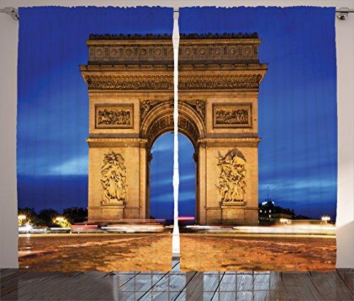 Ambesonne Paris Decor Collection, Arc de Triomphe Paris France at Night View from Avenue des Champs Elysees Picture Print, Living Room Bedroom Curtain 2 Panels Set, 108 X 84 Inches, - De Cafe Paris Avenue L