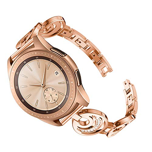 Aresh Compatible with Samsung Galaxy Watch (42mm) Bands, Women Crystal Rhinestone 20mm Bracelet Replacement Strap for Samsung Galaxy Watch (42mm) SM-R810 (Z-Rose Gold)