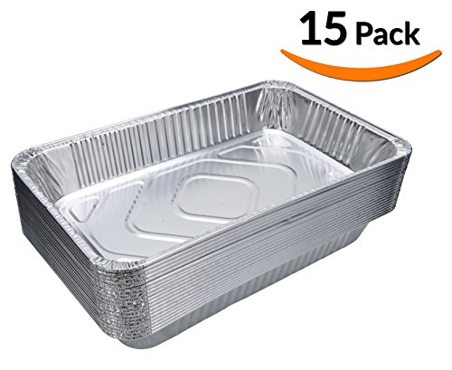 DOBI (15-Pack) Full-Size Deep Chafing Pans - Disposable Aluminum Foil Steam Table Deep Pans, Full Size - 20 1/2