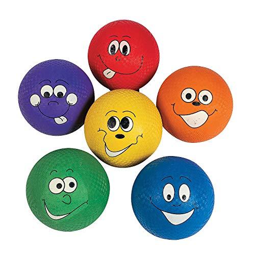 (Fun Express - Happy Face Playground Balls 6 pc - Toys - Balls - Playground Balls - 6)