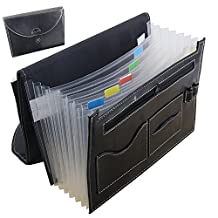GossipBoy Multifunction Expandable Portable Accordion A4 File Folder Document Wallet Briefcase PU Leather Business File Organizer Bag 7 Pockets with Pen Holder and Card Slot
