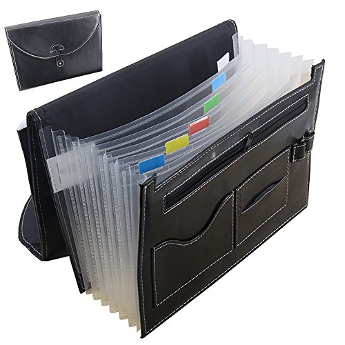 on Expandable Portable Accordion A4 File Folder Document Wallet Briefcase PU Leather Business File Organizer Bag 7 Pockets with Pen Holder and Card Slot (Oak File Holder)