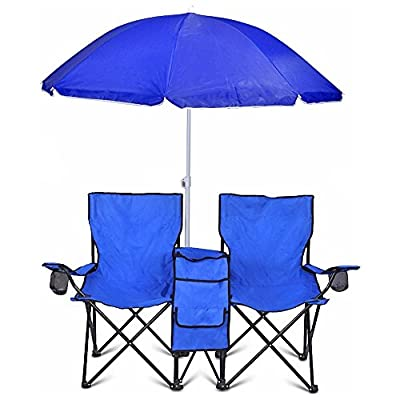 Portable Folding Picnic Double Chair W/Umbrella Table Cooler Beach Camping Chair by Goplus