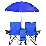 Best Beach Chair Umbrellas - Portable Folding Picnic Double Chair W/Umbrella Table Cooler Review