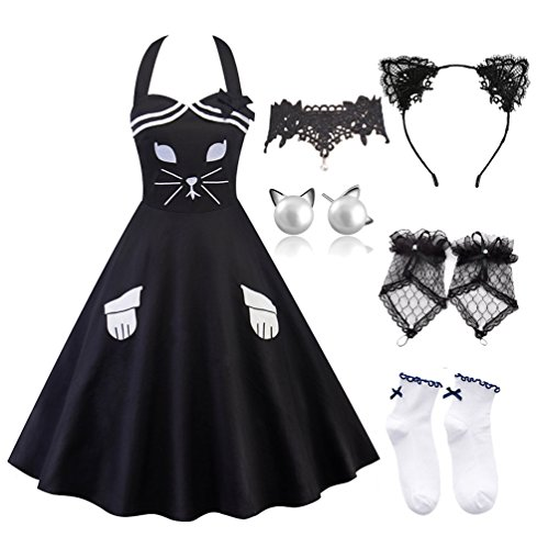 Women A-line Dress Lace Cat Ears Headband with Choker Fingerless Gloves Set ()