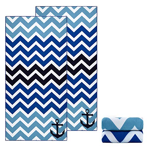 Ricdecor Beach Towels Oversized Cotton Cabana Blue Stripes Chevron Beach Towel for Kids 2pack Beach Towels (Double Blue)]()