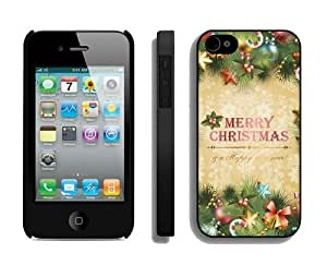 Individualization Iphone 4S Protective Skin Case Merry Christmas iPhone 4 4S Case 7 Black