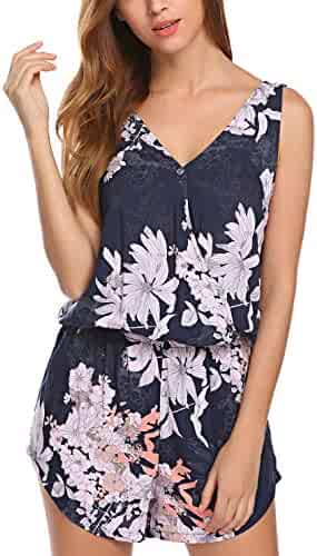 05656a597ee Ekouaer Women s Sleeveless V Neck Romper Jumpsuit Floral Print Backless  Romper Shorts