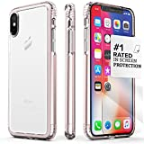 iPhone X Case, SaharaCase dBulk Protection Kit with [ZeroDamage Tempered Glass Screen Protector] Slim Fit Anti-Slip Grip [Shockproof Bumper with Hard Back] iPhone 10 (Clear Rose Gold)