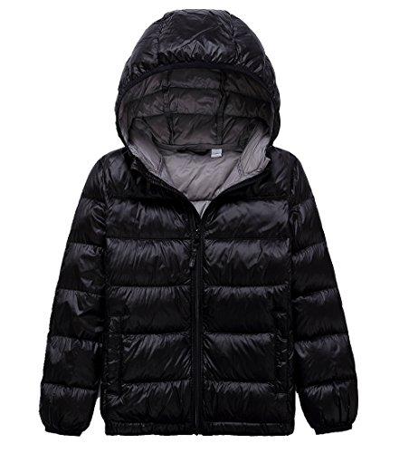 Lanbaosi Kid's Puffer Jacket Boy's Girl's Packable Hoodie Down Parka Jacket Coat, Black, 14