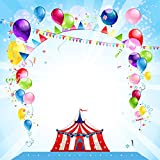Tang Jie Vinyl 6x6FT Carnival Circus Photography Backdrops Colorful Balloon Photo Ribbon Background Studio Happy Birthday Party Decoration Props Booth