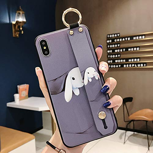 Maxlight Phone Cases for iPhone 7 Case for iPhone 7 8 Plus X XS Max XR Wrist Strap Phone Holder Case Soft Silicone Cover (Purple, for iPhone Xs Max)