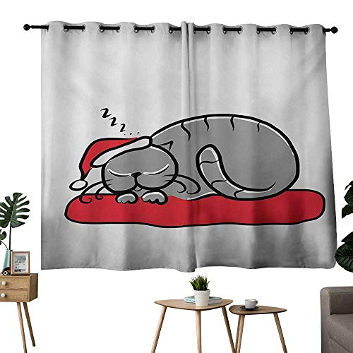 (NUOMANAN Blackout Curtains 2 Panels Christmas,Cat with Santa Claus Hat Whiskers on The Pillow Winter Night Cartoon Artwork,White Red Grey,Rod Pocket Drapes Thermal Insulated Panels Home décor 42
